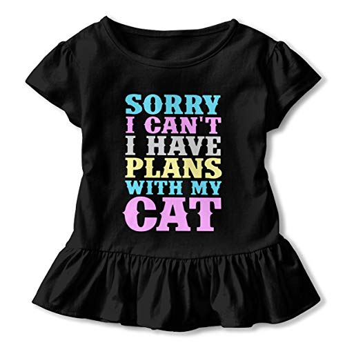 Toddler Girl I Have Plans with My Cat Short Sleeve Dress Ruffle Top T-Shirt Black -