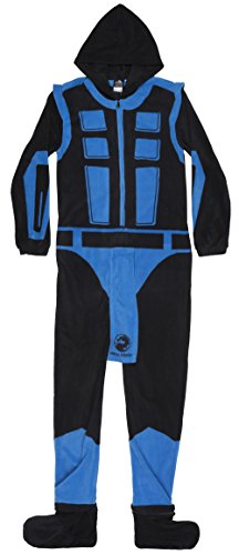 Mortal Kombat Sub-Zero Adult Size Union Suit Costume Polyester Pajamas (Medium)