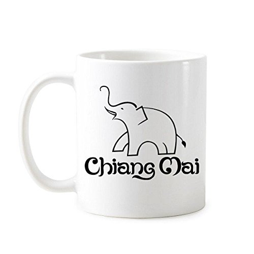 - Kingdom of Thailand Thai Traditional Customs Culture Made in Thailand Easy Elephant Shield Art Illustration Classic Mug White Pottery Ceramic Cup Milk Coffee With Handles 350 ml