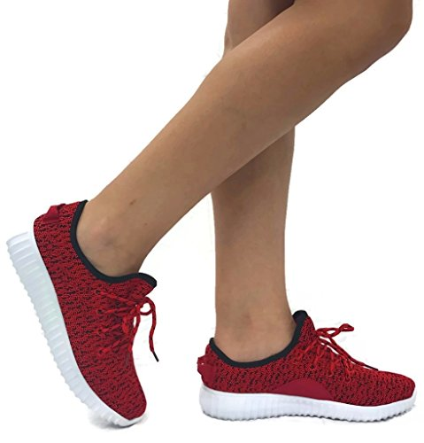 The Collection Jill Womens Athletic Shoes Casual Fashion Breathable Sports Sneakers, Red, - Red Collection