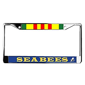 Navy Seabees + Vietnam Ribbon License Plate Frame by VetFriends.com
