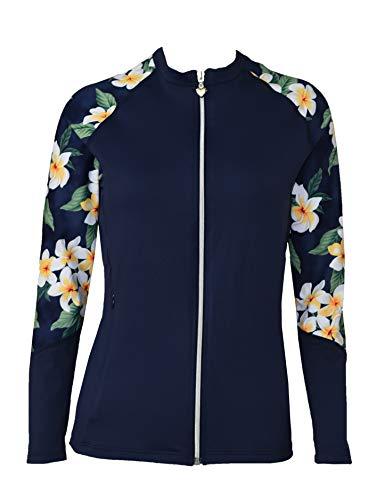 Private Island Hawaii Women UV Wetsuits Long Raglan Sleeve Rash Guard Top Zipper Jacket Pocket Outdoor/Yoga (XXX-Large, NHNP) ()