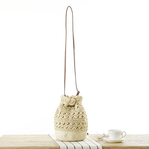 Bag Drawstring Straw Shoulder Beige Women Everpert Beach Crossbody Bucket Crochet Handbag OPXWq7Y