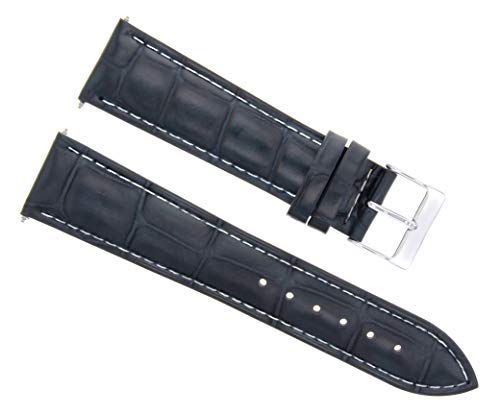(Ewatchparts 20MM Leather Watch Strap Band for Dunhill Dark Blue WS)
