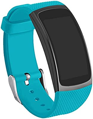 Compatible Gear Fit2 Pro/ Fit2 Band, GHIJKL Silicone Replacement Strap for Samsung Gear Fit 2 & 2 Pro Tracker (Teal)