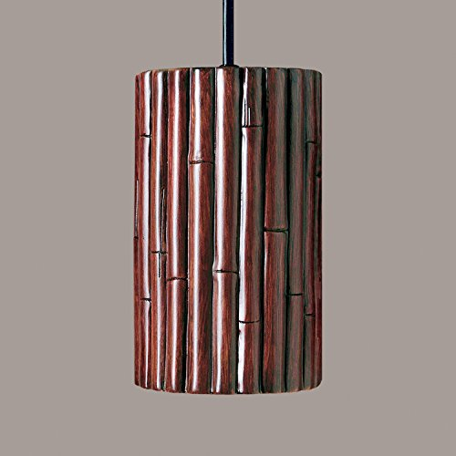 A19 Lighting PN20301-CI-BCC 1-Light Bamboo Pendant Cinnamon (Black Cord & Canopy)