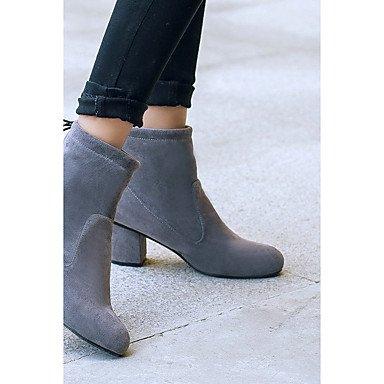 Heart&M Damen Schuhe Kunstleder Winter Modische Stiefel Stiefeletten Stiefel Blockabsatz Runde Zehe Booties Stiefeletten Schnürsenkel Für gray
