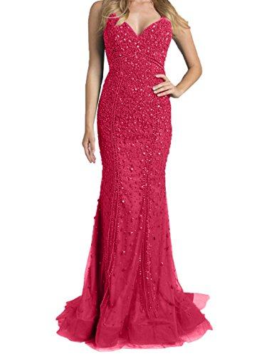Charmant Still Luxurioes Abendkleider Festlichkleider Wassermelon Damen Promkleider Ballkleider Meerjungfrau Neu Steine 2018 SwrgSAq