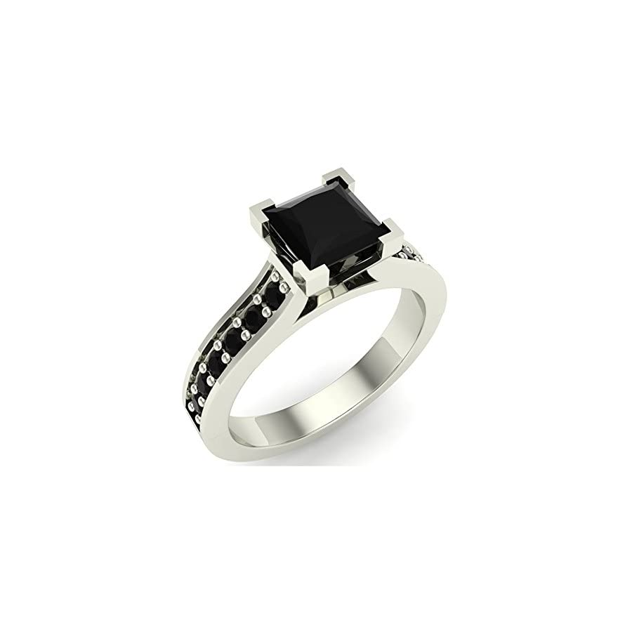 Princess Cut Black Diamond Engagement Ring 14K Gold 1.00 ct tw (AAA)