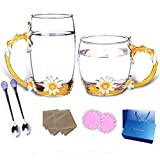 Kitchen Tea Set Porcelain Drinkware Set Saucers Glass Cup Set, Delicate Juice Cup 350ML, Beautiful and Unique Ladies Gift with Spoon and Luxury Gift Box