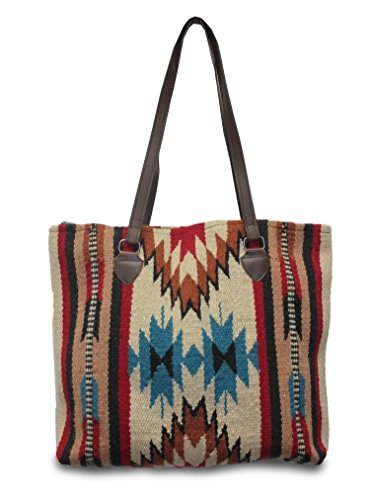 Western Style Leather Shoulder Bag (Southwest Boutique Wool Tote Purse Bag Native American Western Style Handwoven (Taos))