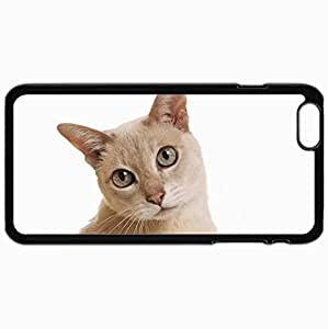 Customized Cellphone Case Back Cover For iPhone 6 Plus, Protective Hardshell Case Personalized Cat Cat White Background Black