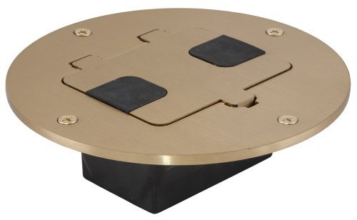 Hubbell Wiring Systems RF509BR tradeSELECT Solid Brass Flush Fit for Structural Wood Floor, Clear Lacquer Finish