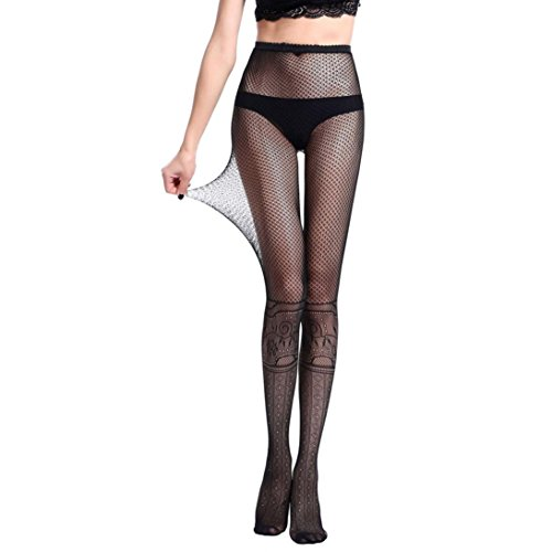 (Lavany Women's Stockings Sexy Fishnet Jacquard Pantyhose Yarns Net Tights for Girl (D))