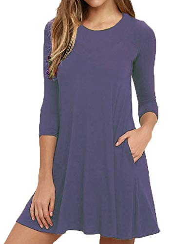 Viishow Womens Round Neck 3/4 Sleeves A-line Casual Tshirt Dress with Pocket Purple Grey XS (Love A Line Mini Dress With Pockets)