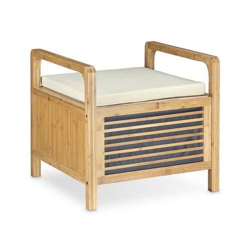 Relaxdays 10020302_58 Banco Almacenamiento con Cojín para Baño, Recibidor, Salón y Dormitorio, Bambú, Marrón Natural, 46 x 50,5 x 50 cm
