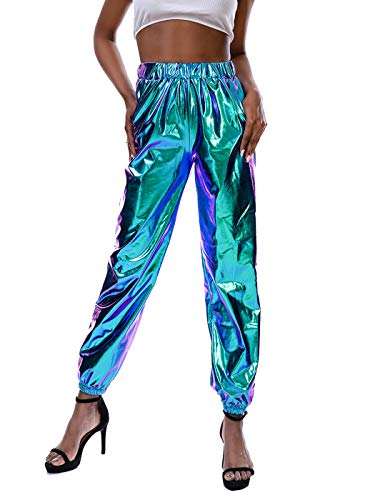 SIAEAMRG Womens Shiny Metallic High Waist Stretchy Jogger Pants, Wet Look Hip Hop Club Wear Holographic Trousers Sweatpant (Blue, XXL)