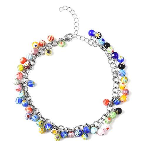 "Multi Color Murano Millefiori Glass Anklet Ankle Bracelet for Women Size 11"" Hypoallergenic"