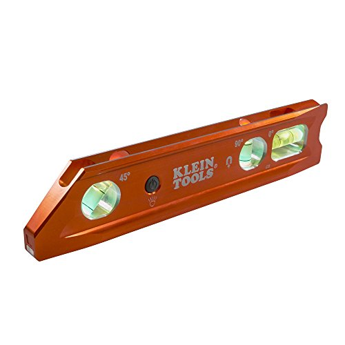 Klein Tools 935RBLT Level, Lighted Torpedo Level with Magnet, 3 Vials and V-Groove, Water and Impact Resistant, Great for Conduit Bending