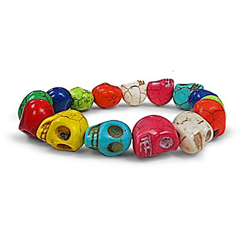 Stretchable Fashion Bracelet - Wood Los Muertos Sugar Skull Beads (Multi-Color) Fashion Stretchable Bracelet
