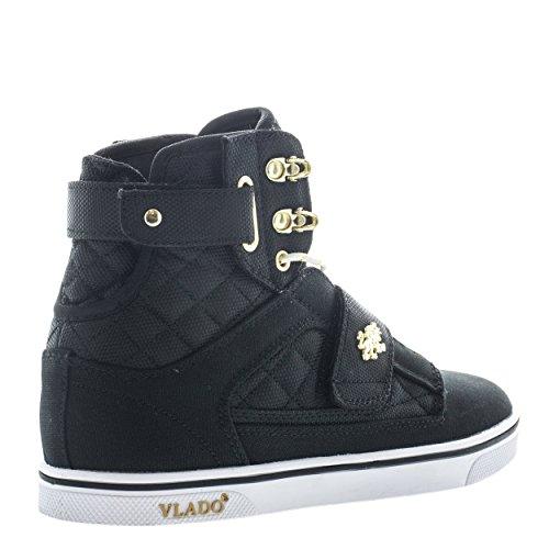 Vlado Damesschoenen Atlas Metallic Pu Leer Goud / Wit Hoge Sneaker Zwart Wit Goud