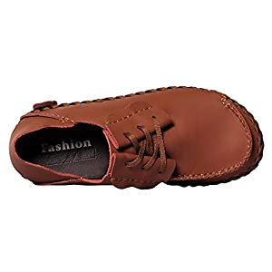 UJoowalk Mens Comfortable Unique Stylish Lace-Up Walking Casual Slip Resistant Working Driving Loafer Shoes (11 D(M) US, Brown)