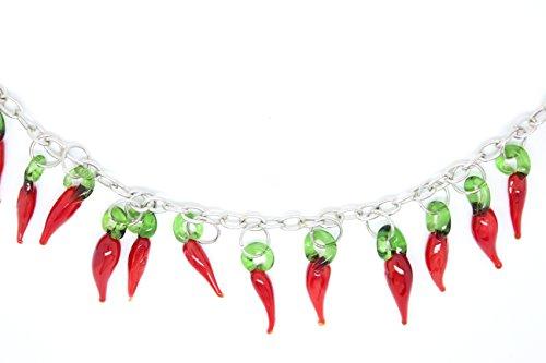 ColliFunky Retro Red Hot Chilli Pepper Collier avec perles de verre