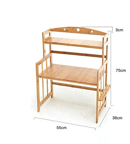 CWJ Bamboo Microwave Oven Rack Kitchen House Commodity Shelf Spice Rack Flower Storage Rack Sink Tableware Drain Shelf Table Storage Shelf,2 Layer,55CM