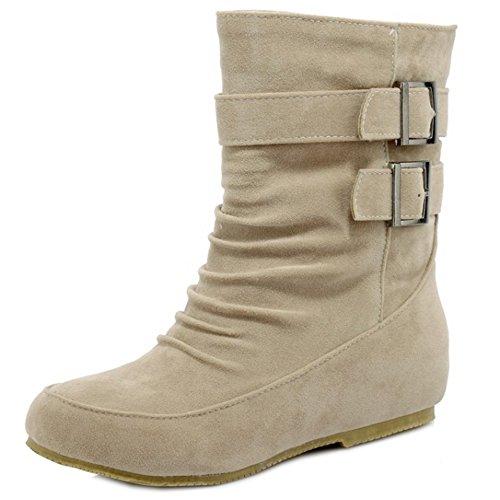 Ankle Western Boots Beige Women TAOFFEN Buckle Autumn Winter Hidden With Heel x4gYYCwq