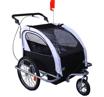 Aosom Elite II 3in1 Double Child Bike Trailer, Stroller & Jogger – White (Trailer Kids Bicycle)