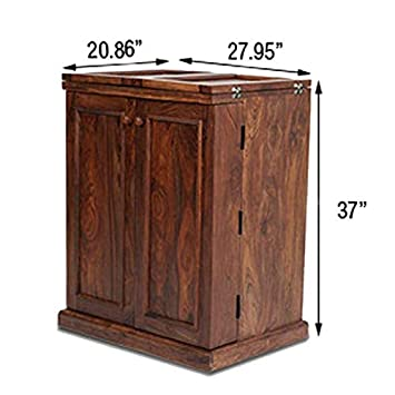 M&C ALIVEN Sheesham Wood Stylish Bar Cabinet with Wine Glass Storage for Living Room with Classy Finish