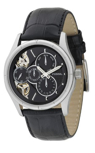 Amazon.com: Fossil Mens ME1038 Black Leather Strap Textured Black Cutaway Analog Dial Multifunction Chronograph Watch: Fossil: Watches