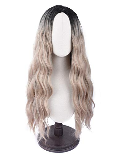 SEIKEA Light Brown Wig Long Curly Hair with Root Color Ombre 28 Inch Natural Looking Cosplay Outfit (Ombre Hair Dark Brown To Light Blonde)