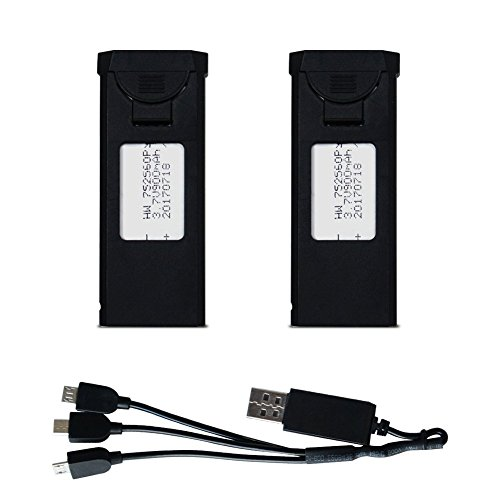 3.7v 900mah Lipo Battery for TIANQU VISUO XS809W XS809HW XS809 XS809HC XS809S Foldable RC FPV Quadcopter Drone Spare Parts(2pcs)+3 in 1 Charger Cable