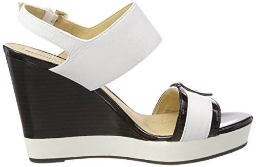 Geox Ladies Donna Janira E Plateausandalen White (bianco / Nero)
