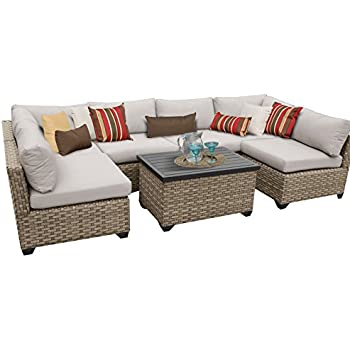 tk classics monterey 7 piece outdoor wicker patio furniture set 07a beige