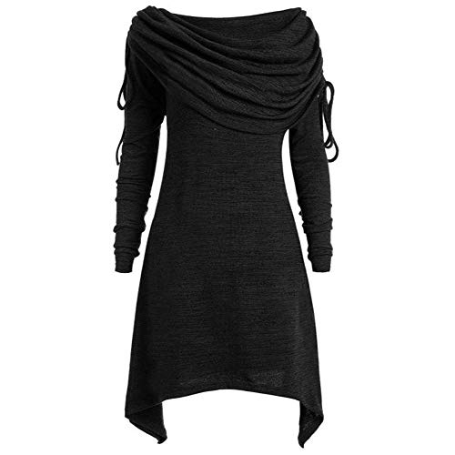 (iLUGU Boat Collar Long Sleeve Mini Dress for Women Irregular Hem Plus Size Solid Ruched Tunic Top Blouse Tops Black)