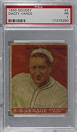 Amazoncom Dazzy Vance Graded Psa 1 Pr Baseball Card 1933