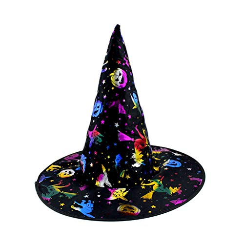 BESTOYARD Halloween Cosplay Witch Hat Masquerade Dress Up Cap Hot Stamping Hats Makeup Props Performance Costume Accessory