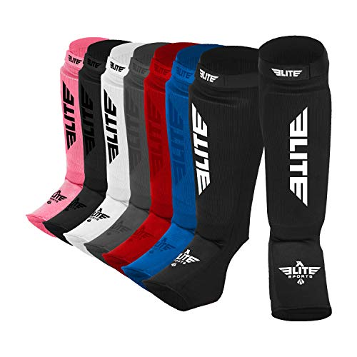 Elite Sports New Item Protective Kickboxing, MMA, Muay Thai Shin & Instep Guards Leg Pad Training Protective Gear Washable ()