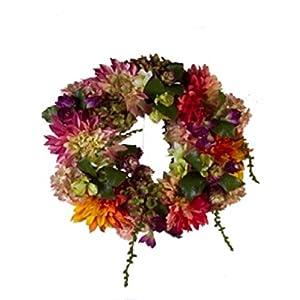 "Colorful Spring Garden 20"" Wreath with Hydrangeas, Peonies, and Dahlias 52"