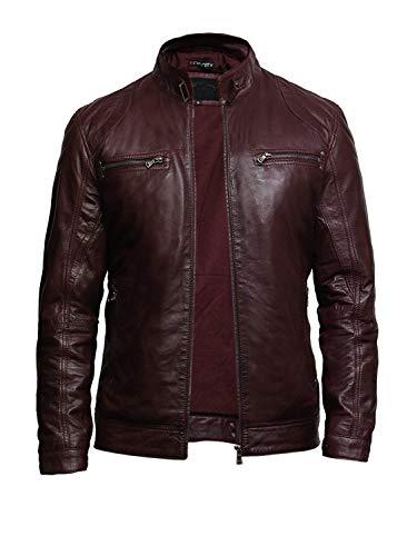 Brandslock Mens Leather Jacket Genuine Lambskin Moto Biker Slimfit Burgundy (Medium)