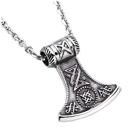 (Zysta Norse Mythology Stainless Steel Retro Legend Vintage Viking Thor's Hammer Odin Axe God War Weapon Symbol Pendant Necklace 22 Inch Chain)