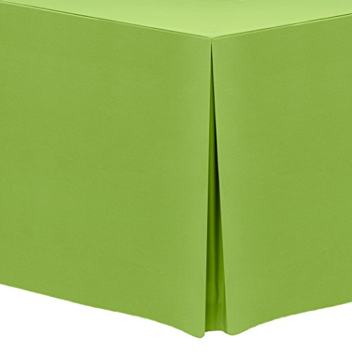 Ultimate Textile 6 ft. Fitted Polyester Tablecloth - for 30 x 72-Inch Banquet and Folding Rectangular Tables, Lime Green (6' Tablecloth Polyester Fitted)