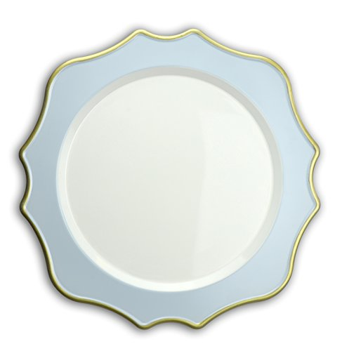 OCCASIONS 10 Pcs. 13'' Wedding Charger Plates (Scalloped Light Blue/Gold)