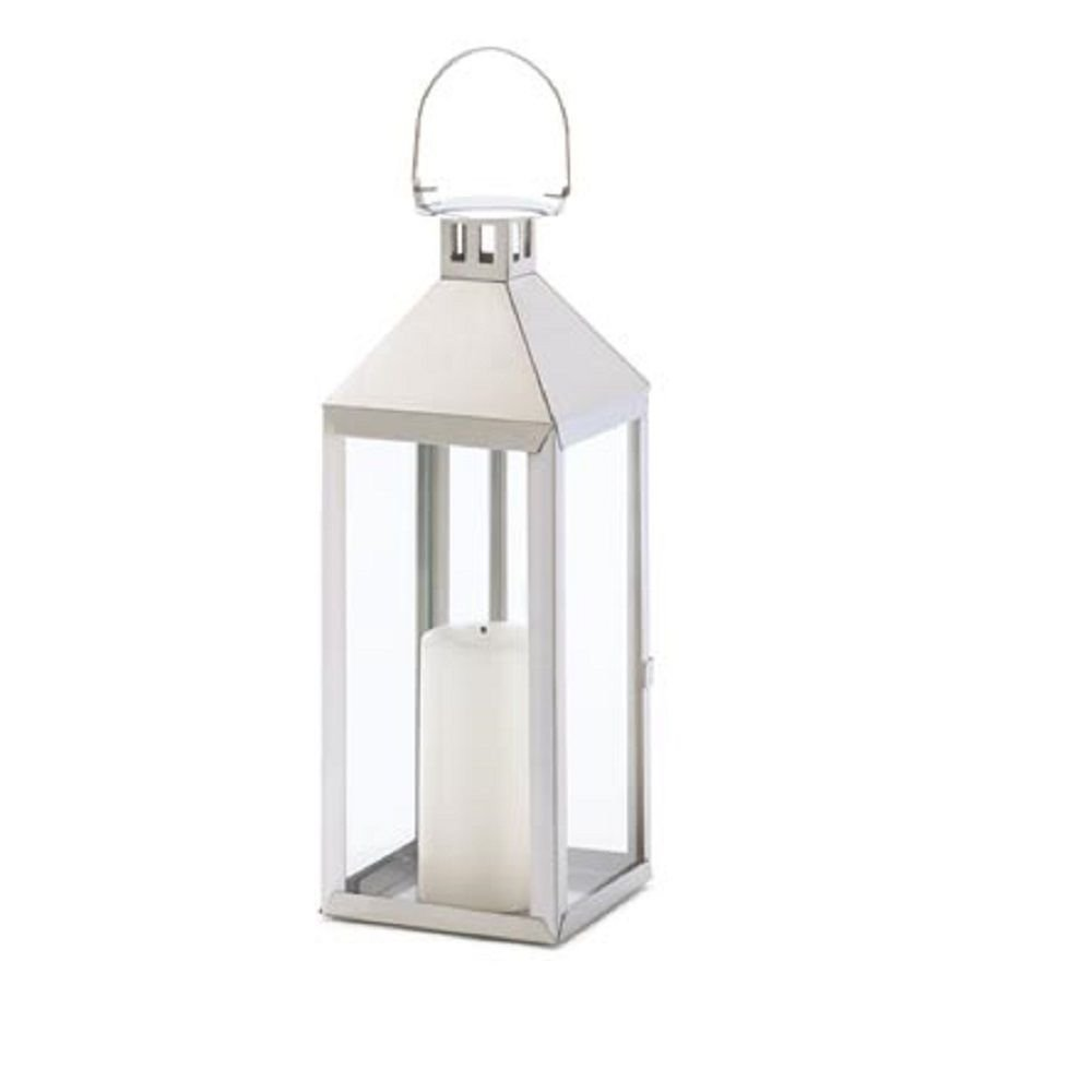 Amazon.com: Large Silver Lantern Stainless Steel Candle Holder ...