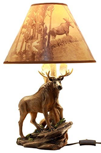 Ebros Gift Wildlife Nature Bull Moose Grand Elk Desktop Table Lamp With Nature Printed Shade Home Decor 20