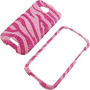 Rhinestones Protector Case for HTC One VX, Hot Pink Zebra Full Diamond