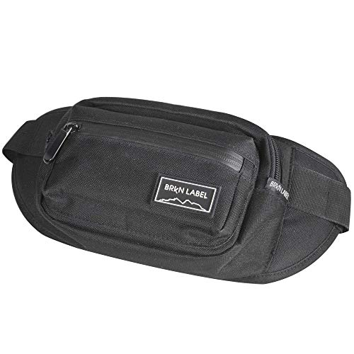 55f99cca8 BRKN LABEL Water Resistant Fanny Pack with Two Zip Compartments, Secret  Pocket and Adjustable Strap