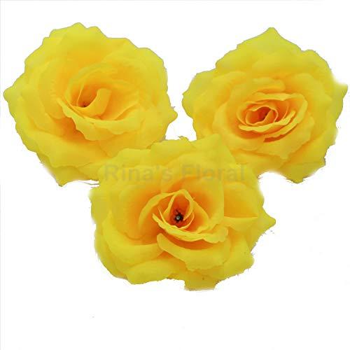 Silk yellow roses flower head artificial flowers oc2o flower head diameter is about 10cm best buy silk flowers wholesale 100 artificial silk rose heads bulk flowers 10cm mightylinksfo